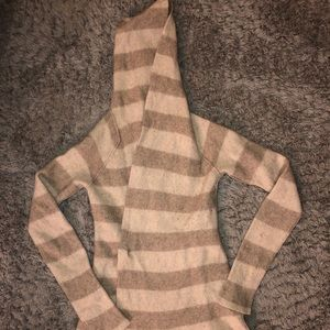 Hooded Tie Front Sweater with Hood